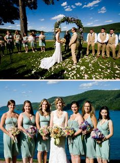 Beautiful summer wedding by the lake.  classic style bouquets