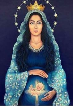 The Blessed Virgin Mary in Scripture and Tradition. Queen of Heaven. Divine Mother, Blessed Mother Mary, Blessed Virgin Mary, Mother Mother, Pictures Of Mary, Images Of Mary, Catholic Art, Religious Art, Immaculée Conception