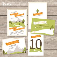 Quirky Mountain/Forest theme - perfect for an outdoor wedding! Wedding Invitation Suite - Printable PDF.
