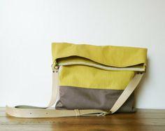 canvas tote bag yellow grey modern fold over bag adjustable shoulder strap leather strap everyday bag