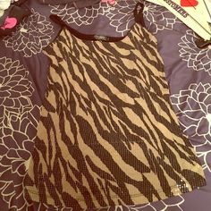 ▪️black and tan sequined zebra print tank◾️ Adjustable spaghetti straps and black back. Only worn once' mandee Tops Tank Tops