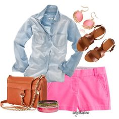 """Pink Shorts and Chambray Shirt"" by angkclaxton on Polyvore"