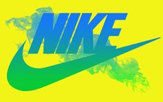 Logo based design-The Nike swoosh is an iconic symbol. Everyone knows that it is connected to the Nike brand. The symbol is gradient in the image, but in any color it is iconic. Neon Nikes, Yellow Nikes, Nike Neon, Blue Nike, Nike Sb, Blue Yellow, Green, Nike Air Force 1 Outfit, Nike Design