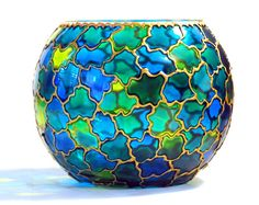 Hand Painted Glass Bowl by ColoredGlassByOlia on Etsy, $52.00
