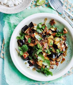 Recipe for stir-fried eggplant with sweet tamarind sauce | Gourmet Traveller