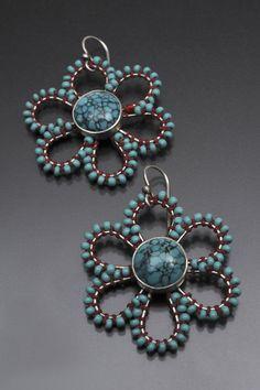 Susan Skinner, artisan jeweler; sterling, turquoise, glass beads, thread.