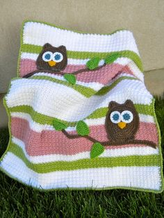 Owl Baby Blanket PInk and Green Girl Baby Shower Gift by abbycove