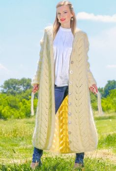IVORY Hand Knitted Mohair Sweater Coat UNIQUE Boutique Fuzzy Cardigan SUPERTANYA #SuperTanya #BasicCoat