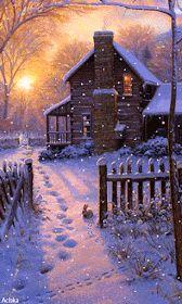 The Fatal Gift of Beauty – Winterbilder Christmas Scenes, Christmas Images, Christmas Art, Winter Christmas, Vintage Christmas, Beautiful Christmas Pictures, Winter Szenen, Winter Cabin, Winter Time