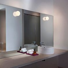 The Flos Mini Glo-Ball CW lamp Zero can be used as a wall lamp or ceiling lamp. The Glo-Ball lamp series were designed by Jasper Morrison for Flos in Italy. This wall or ceiling lamp provides a gentle and even diffused illumination. Glass Wall Lights, Bathroom Wall Lights, Wall Sconces, Bathroom Sconces, Wall Lamps, Contemporary Bathroom Lighting, Bathroom Lighting Design, Modern Bathroom, Ceiling Lamp