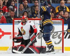 BUFFALO, NY - NOVEMBER Jason Pominville of the Buffalo Sabres scores a second period goal against Mike McKenna of the Ottawa Senators during an NHL game on November 2018 at KeyBank Center in Buffalo, New York. (Photo by Bill Wippert/NHLI via Getty Images) Nhl Games, Hockey Goalie, Buffalo Sabres, November 3, Baseball Cards, Ottawa, Scores, Period, York