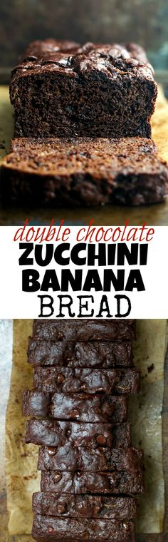 Double Chocolate Zucchini Banana Bread - zucchini, bananas, and Greek yogurt keep this loaf extra soft without the need for any added butter or oil! This bread is so tender and flavourful, you'd never (Bake Squash Greek Yogurt) Mini Desserts, Just Desserts, Delicious Desserts, Dessert Recipes, Yummy Food, Zucchini Banana Bread, Zucchini Desserts, Chocolate Zuchinni Muffins, Cake