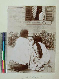 Women braiding hair, Antananarivo, Madagascar, ca.1900 :: International Mission Photography Archive, ca.1860-ca.1960