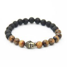 Magnifique bracelet perles de pierre volcanique et œil de