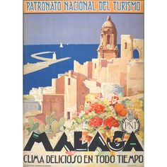 Original 1920s travel poster for Malaga, Andalusia Spain by Verdugo