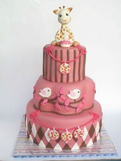 Giraffe and birdies cake, Oh i think I have found how I want to do my baby shower cake!