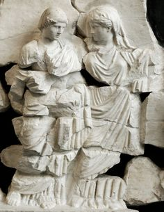 Wedding scene: a matron leads the bride to the house of the groom. Pentelic marble, fragment from the frieze of the Basilica Aemilia, century century AD. Courtesy & currently located at the National Museum of Rome. Photo taken by Marie-Lan Nguyen Ancient Rome, Ancient Art, Ancient History, Wedding Scene, Roman Art, 1st Century, Before Us, National Museum, Roman Empire