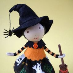 Halloween Witch with Broomstick by WeeCuteTreasures on Etsy