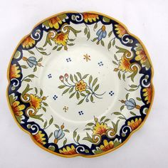 Antique Henri Delcourt H D Anchor Pottery Plate Blue & Orange Flowers Faience