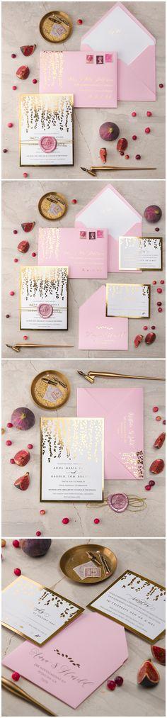Pink Gold Foil Wedding Invitations with wax stamp #romantic #elegant #weddinginvitations #wedding #pink #gold #glamorous #shiny #weddingideas