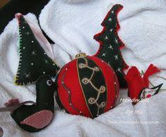 Handmade by Iris .: flauszowe zawieszki i bombka patchworkowa + kurs Felt Christmas, Christmas Bulbs, Christmas Ideas, Felt Ornaments, Fun Projects, Diy Crafts, Hand Crafts, Photo Wall, Wool