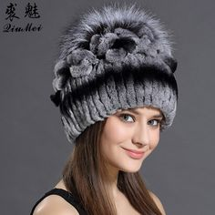 06cf0e00 Knitted Hats 2016 Winter Rabbit Fur Beanies Headgear For Women With Fox Fur  Luxury Ball Flower Cap Women's Customized Hat Beanie - Bamba Sportive