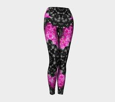 Pink and black yoga leggings roses and snow printed yoga White Yoga Leggings, Women's Leggings, Printed Yoga Pants, Printed Leggings, Pink Black, Black And White, Black Yoga, Yoga Wear, Artwork Design