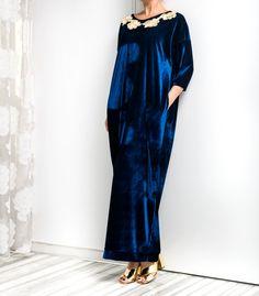 Velvet Maxi dress Abaya Caftan Blue Velvet by cherryblossomsdress