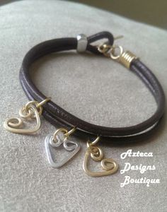 Sterling Silver And Brass Leather Charm Bracelet