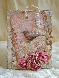 Pink tag w/ bird shabby chic ~ Peace ~ Rukodelnыy: Results, 2012 Dec. Shabby Chic Karten, Shabby Chic Cards, Ideias Diy, Handmade Tags, Beautiful Handmade Cards, Paper Tags, Kraft Paper, Bird Cards, Vintage Tags