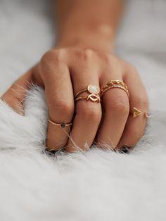 Leaf & Geometric Design Ring Set With Gemstone -SheIn(Sheinside)