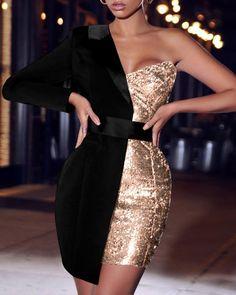 Women Sequined Patchwork Sey Dress One Shoulder Sequin Patchwork Party Dress, Black / XL Strapless Dress Formal, Prom Dresses, Formal Dresses, Elegant Party Dresses, Chiffon Dresses, Bridesmaid Gowns, Fall Dresses, Long Dresses, Black One Shoulder Dress