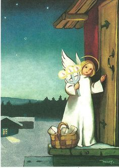 Angel Knocking On My Door - Artist - Martta Wendelin Swedish Christmas, Christmas Past, Scandinavian Christmas, Christmas Pictures, Christmas Angels, Christmas Greetings, Winter Illustration, Christmas Illustration, Children's Book Illustration