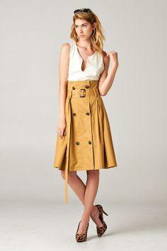 High Waist Trench Coat Skirt