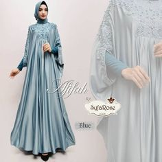 Afifah by Syfarose Ootd Hijab, The Dress, Hijab Fashion, Muslim, Dresses With Sleeves, Long Sleeve, Blue, Style, Gowns With Sleeves