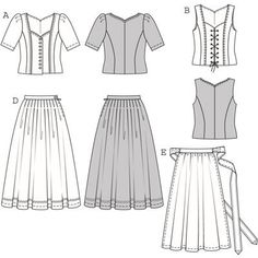 Burda 7870 Dirndl Fashion Flats, Skirt Fashion, Dirndl Skirt, Gathered Skirt, Pli, Bustier, Sewing Patterns, Cosplay, Costumes