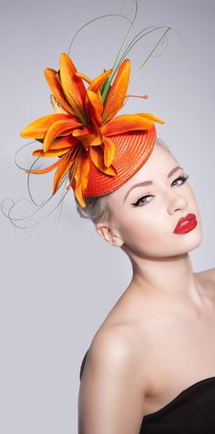 Kentucky Derby Wedding Royal Ascot Hat. Large Orange Orchids Headpiece. You can't go wrong with a bright hat for the Derby, so this could be the perfect fashion headpiece. Kentucky Derby Hat ideas. Outfit inspiration. Mother of the Bride, spring wedding. #kentuckyderby #derbyhats #bighats #fascinator #hatsfothederby #kentuckyderbyoutfits #motherofthebride #weddings #fashion #affiliatelink #royalascot #fashionista #fashion #derbyoutfits