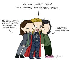 Thor 2: Adventures in dating. by =caycowa on deviantART  Wow Thor...Just... Wow... Poor Jane... You really do owe her a good date. And I'm sure Loki loves being the third wheel...