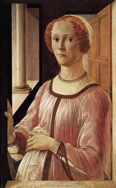 Portrait of a Lady by Sandor Botticelli.  Here we can see an obviously pregnant Florentine lady wearing the same loose, sheer overdress as Ms. Lisa