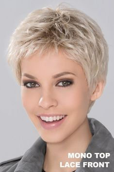 Run Mono Wig by Ellen Wille: Run Mono is sharp, sophisticated and no doubt a power style. A full Mono Top and an extended lace front will add ultimate comfort while staying trendy and chic! Really Short Hair, Super Short Hair, Short Grey Hair, Short Blonde, Short Pixie Haircuts, Pixie Hairstyles, Short Hairstyles For Women, Straight Hairstyles, Teenage Hairstyles