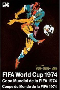 Cartel oficial de la Copa del Mundo Alemania 1974 realizado por Fritz Genkinger / Official poster of the FIFA World Cup Germany 1974 designed by Fritz Genkinger 1974 World Cup, World Cup 2014, Fifa World Cup, Soccer Art, Soccer Poster, Football Posters, Sand Soccer, Football Images, Sports Posters