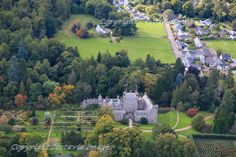 Cawdor castle and village.Aerial photograph Scotland.Prints 18x12 £25 24x16 £35 same size on canvas ready to hang £60. Order via website www.scotaviaimages.co.uk