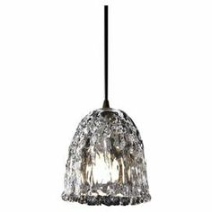 """Add eye-catching appeal to your breakfast nook or home library with this eclectic pendant, showcasing a marbled Venetian glass shade.     Product: Mini pendantConstruction Material: Venetian glass and metalColor: Dark bronze and clearFeatures:  Suitable for damp locationsUL Listed Accommodates: (1) 40 Watt G-16.5 incandescent bulb - not includedDimensions: 6.25"""" H x 4.5"""" Diameter"""