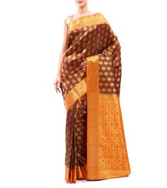 #Brown #Zari #Woven #Kanjivaram #Silk #Saree by Suta at #Indianroots #flipkart