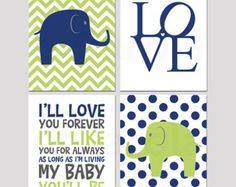 "Navy Blue Lime Green Green White Nursery Wall Art Print Personalized Print Set Four, Love Quote Elephants Kids Room Decor, ofcarola 8x10"""