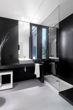 modern bath room of black glass house design....But they need to hide the drain pipes