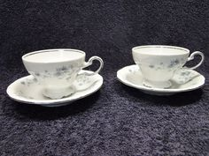 Johann Haviland Bavaria Blue Garland FOOTED Tea Cup Saucer Sets - TWO 2 - MINT! #JohannHaviland