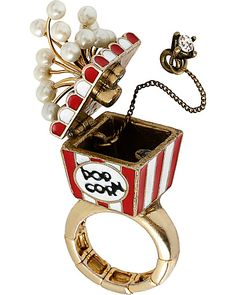 AT THE ZOO POPCORN STRETCH RING RED accessories jewelry rings fashion