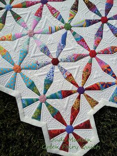 Spring Wheels quilted by Judi Madsen of Green Fairy Quilts.  Oh my word!  Gorgeous!