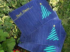 Handmademaja / Vianočné prestieranie z recyklovanej džínsoviny Napkins, Tableware, Dinnerware, Towels, Dinner Napkins, Tablewares, Dishes, Place Settings